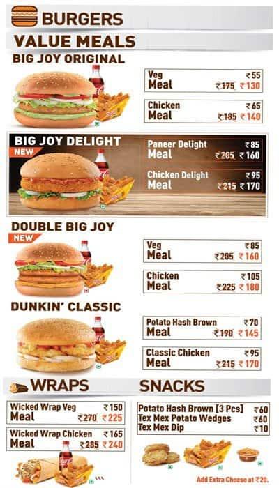Dunkin Donuts Menu For White Avenue Amritsar
