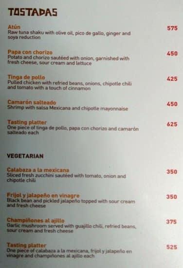 La Bodega Menu Menu For La Bodega Khan Market New Delhi