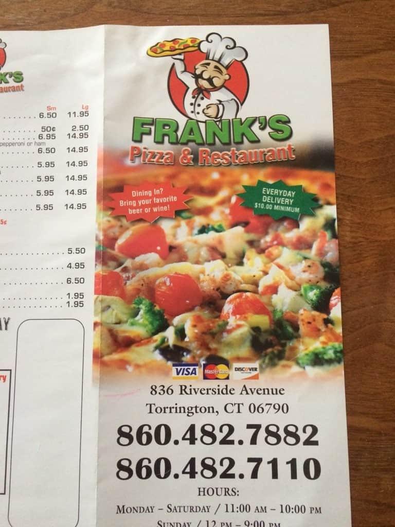 Frank S Pizza Torrington Menu