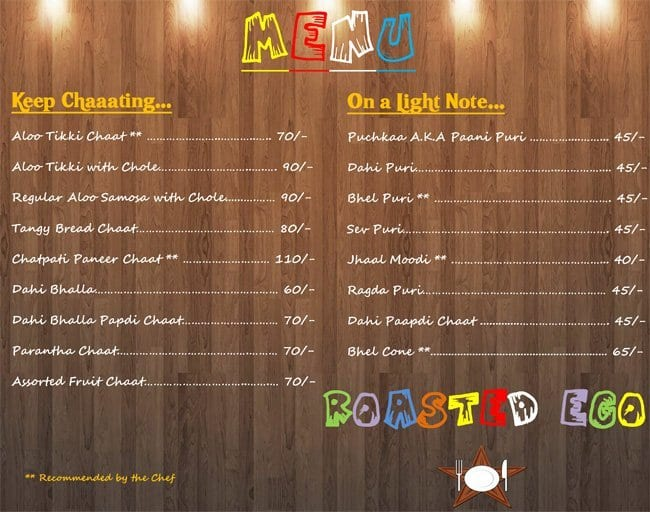 Roasted Ego, Sainikpuri Menu