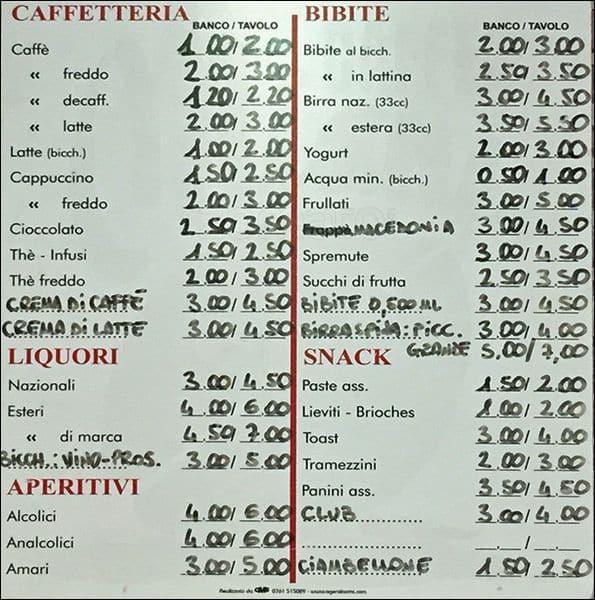 Eccezionale Caffetteria San Bernardo a Roma: Foto del Menu con Prezzi - Zomato  VT11