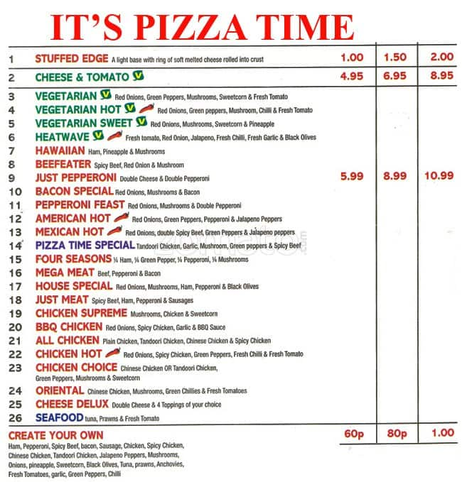 Its Pizza Time Menu Menu For Its Pizza Time Hendon