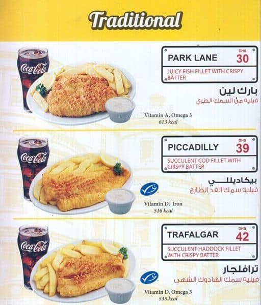 London fish chips menu menu for london fish chips al for Fish and chips london