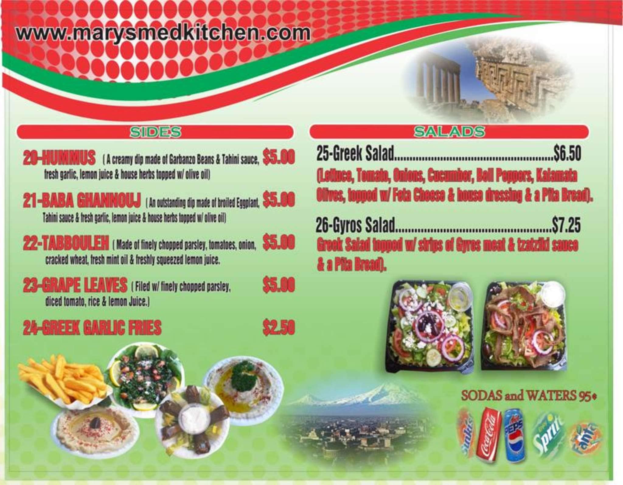 menu at mary s mediterranean kitchen 1151 mapunapuna st 8