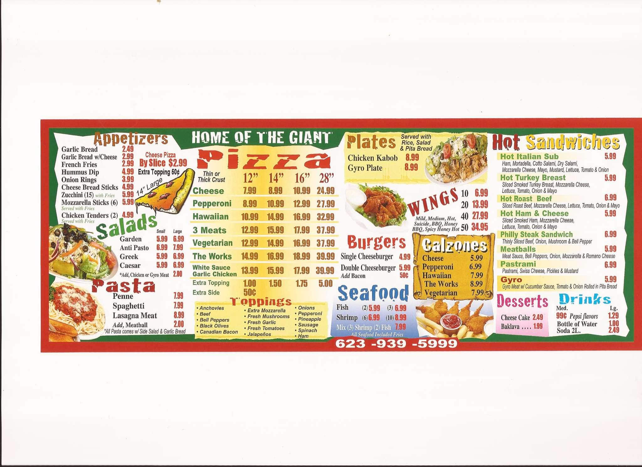 Giant Manhattan Pizza Menu Menu For Giant Manhattan Pizza Glendale