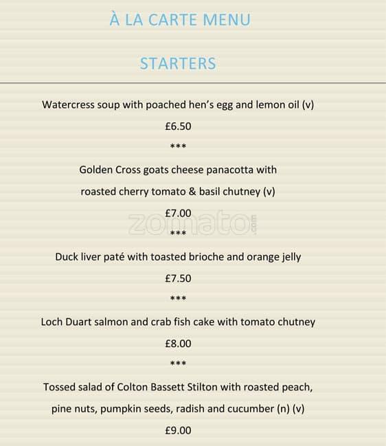 Hilton Wembley Association Restaurant Menu