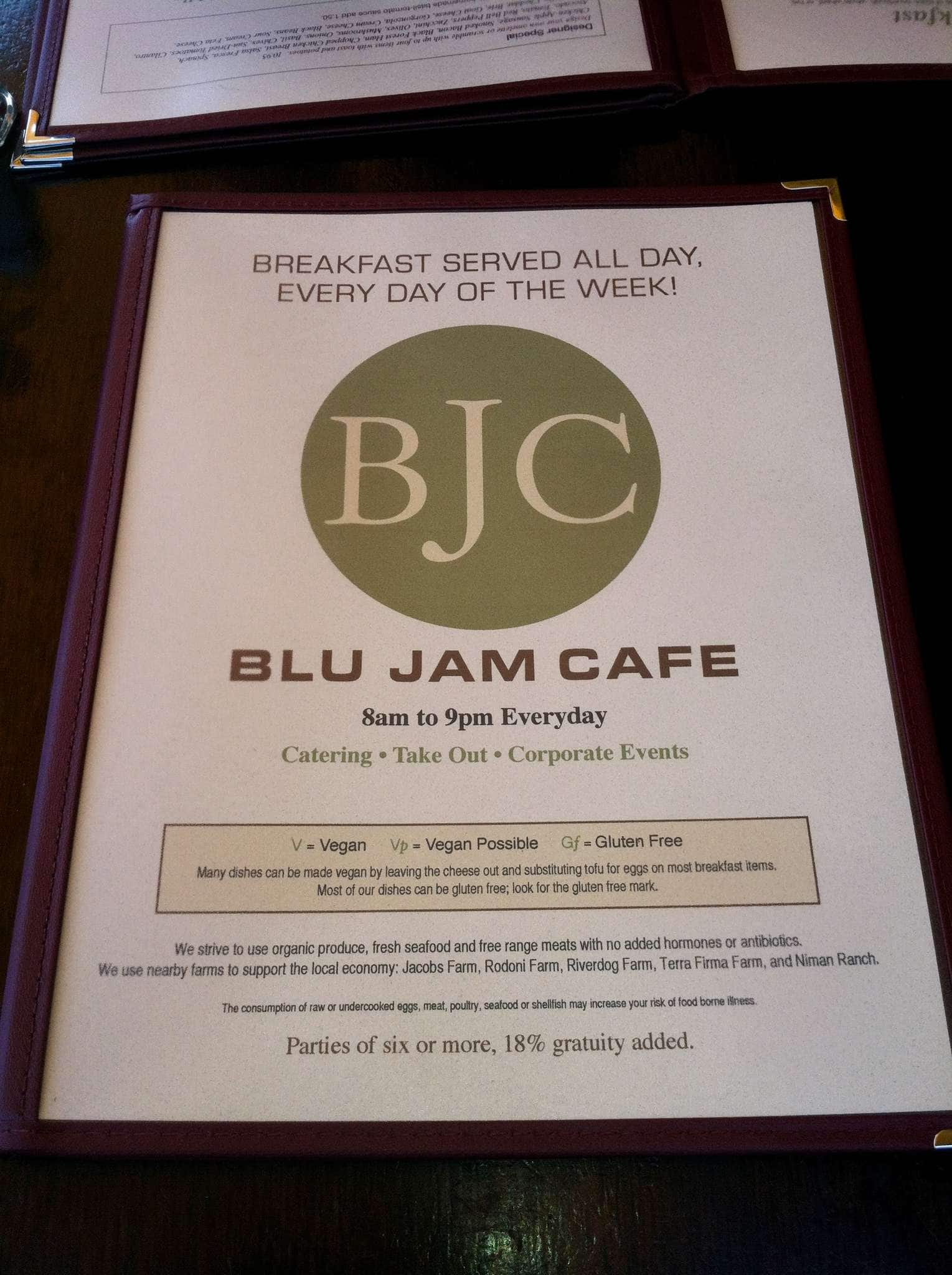 Blu Jam Cafe Breakfast Menu