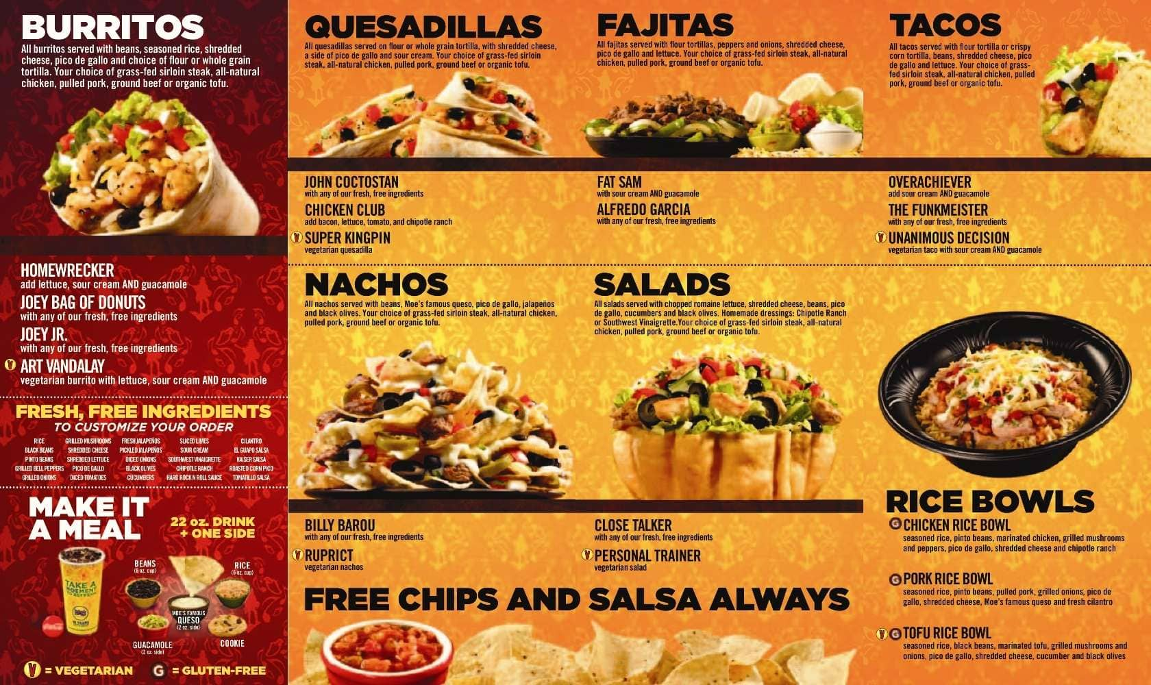 Popular Catering Choices at Moe's Southwest Grill. Lunch and dinner are a treat at Moe's Southwest Grill, there's something on the menu for everybody.