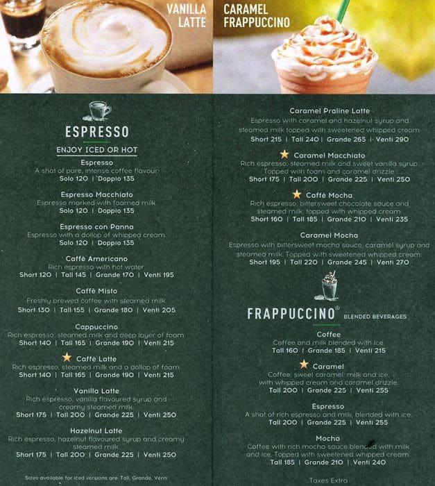 Starbucks Coffee Menu Menu For Starbucks Coffee Fort