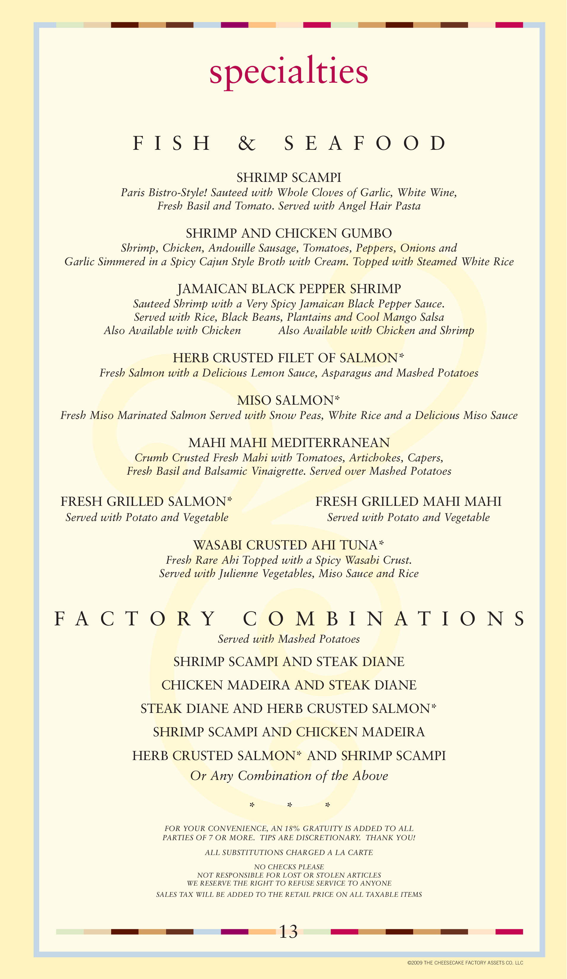 photo regarding Cheesecake Factory Printable Menu known as Menu at The Cheesecake Manufacturing unit desserts, Jacksonville, Mid