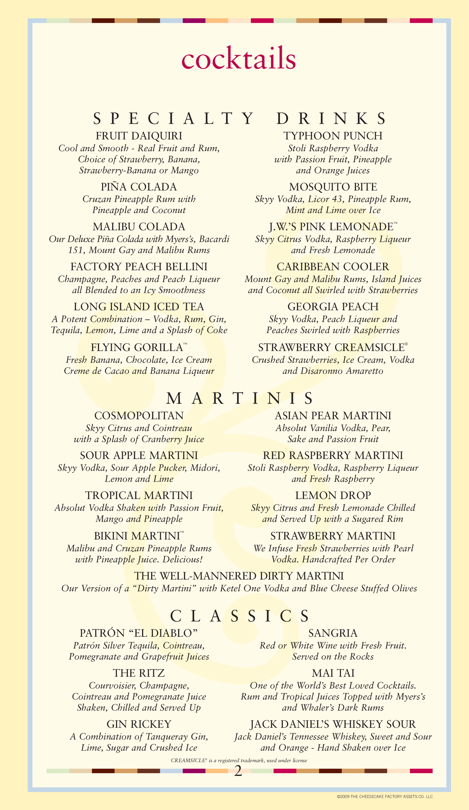 photo regarding Cheesecake Factory Printable Menu referred to as Menu at The Cheesecake Manufacturing unit desserts, Jacksonville, Mid