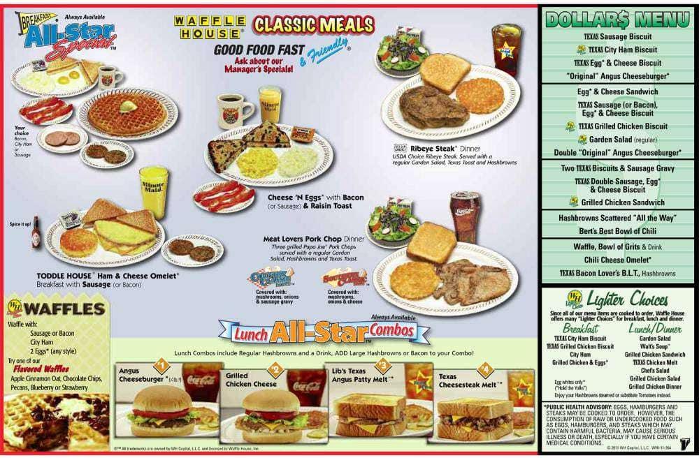 Waffle House Menu Menu For Waffle House Southaven Memphis
