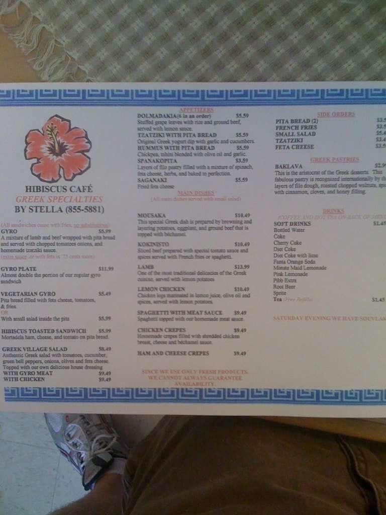 Hibiscus Cafe Wichita Falls Menu