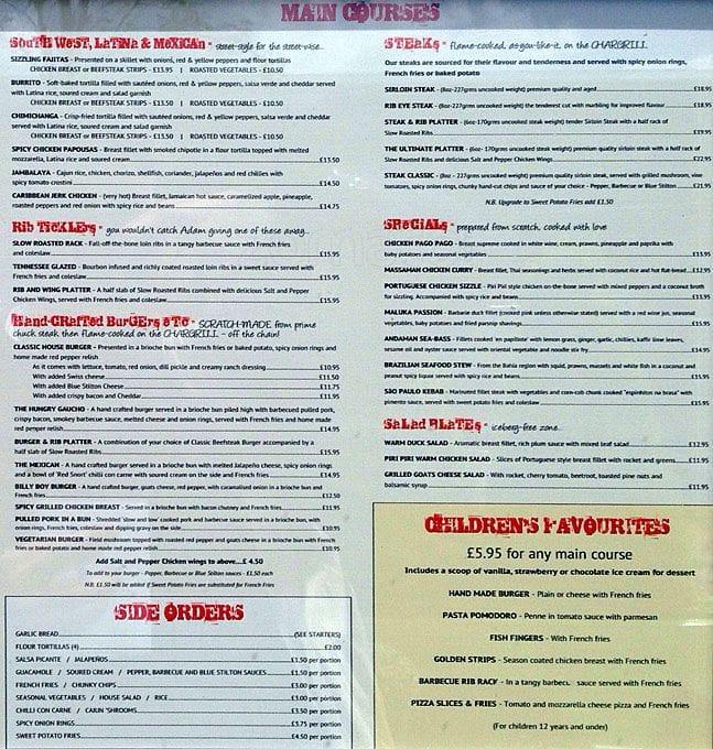 Friday Restaurant Panama Menu