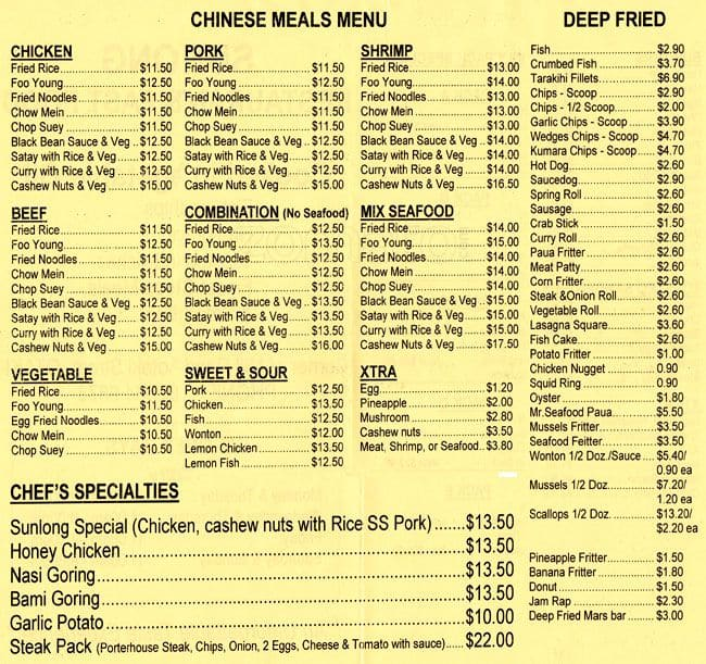 Food Menu Items List  Food