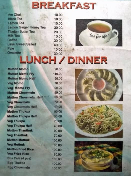 Tibetan Cafe Menu, Menu for Tibetan Cafe, Ram Nagar
