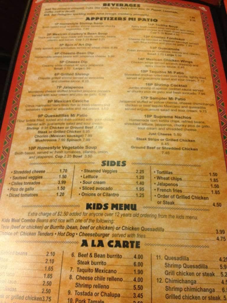 Wonderful Scanned Menu For Mi Patio Mexican Restaurant