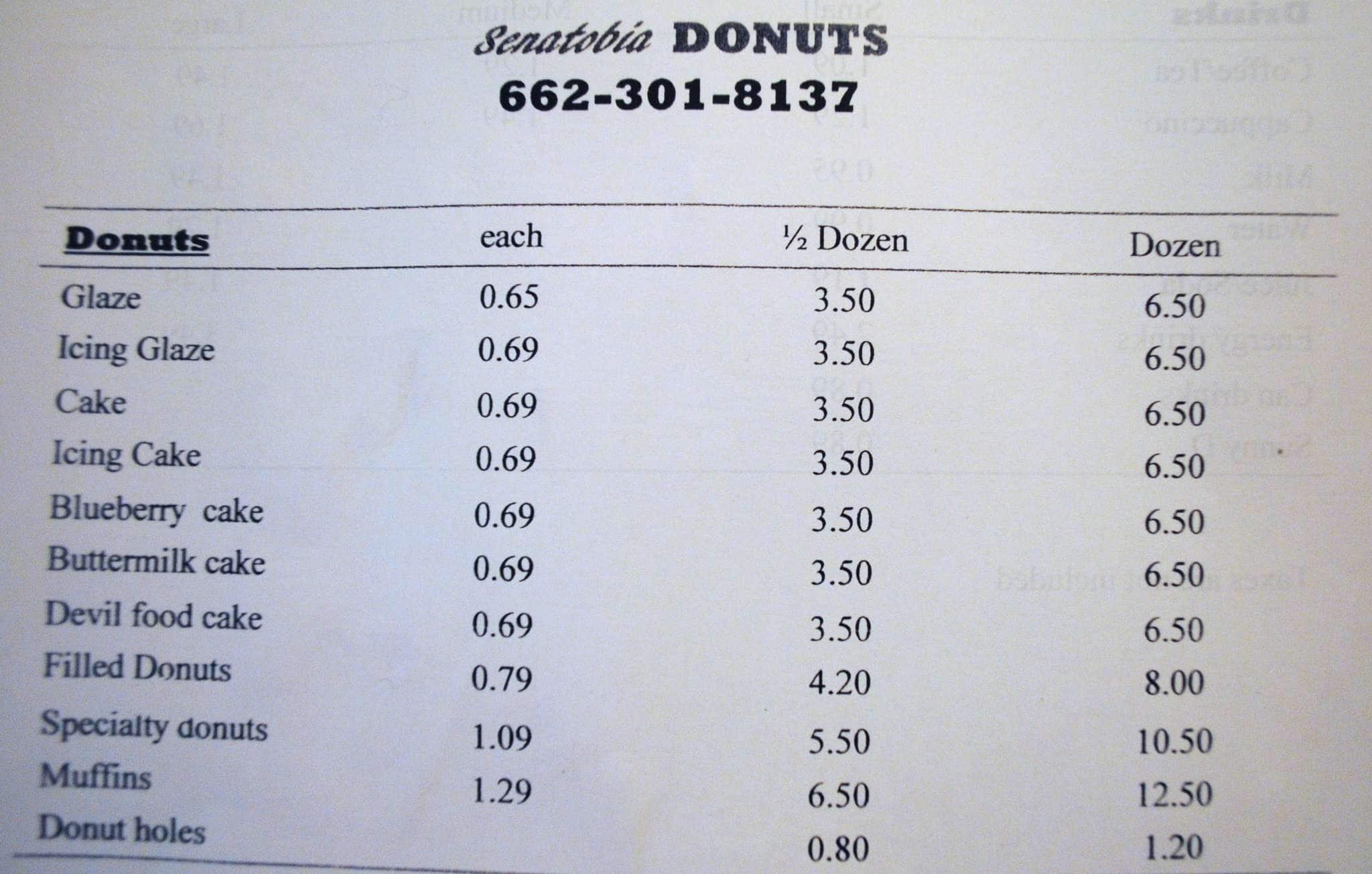 Senatobia (MS) United States  City pictures : Senatobia Donuts Menu, Menu for Senatobia Donuts, Senatobia, Senatobia ...