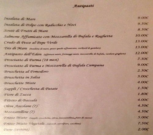 Eden Ristorante Menu Menu For Eden Ristorante Gianicolense