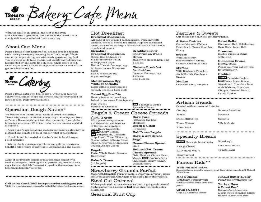 photo about Panera Bread Printable Menu titled Panera Bread Menu, Menu for Panera Bread, Coral Springs