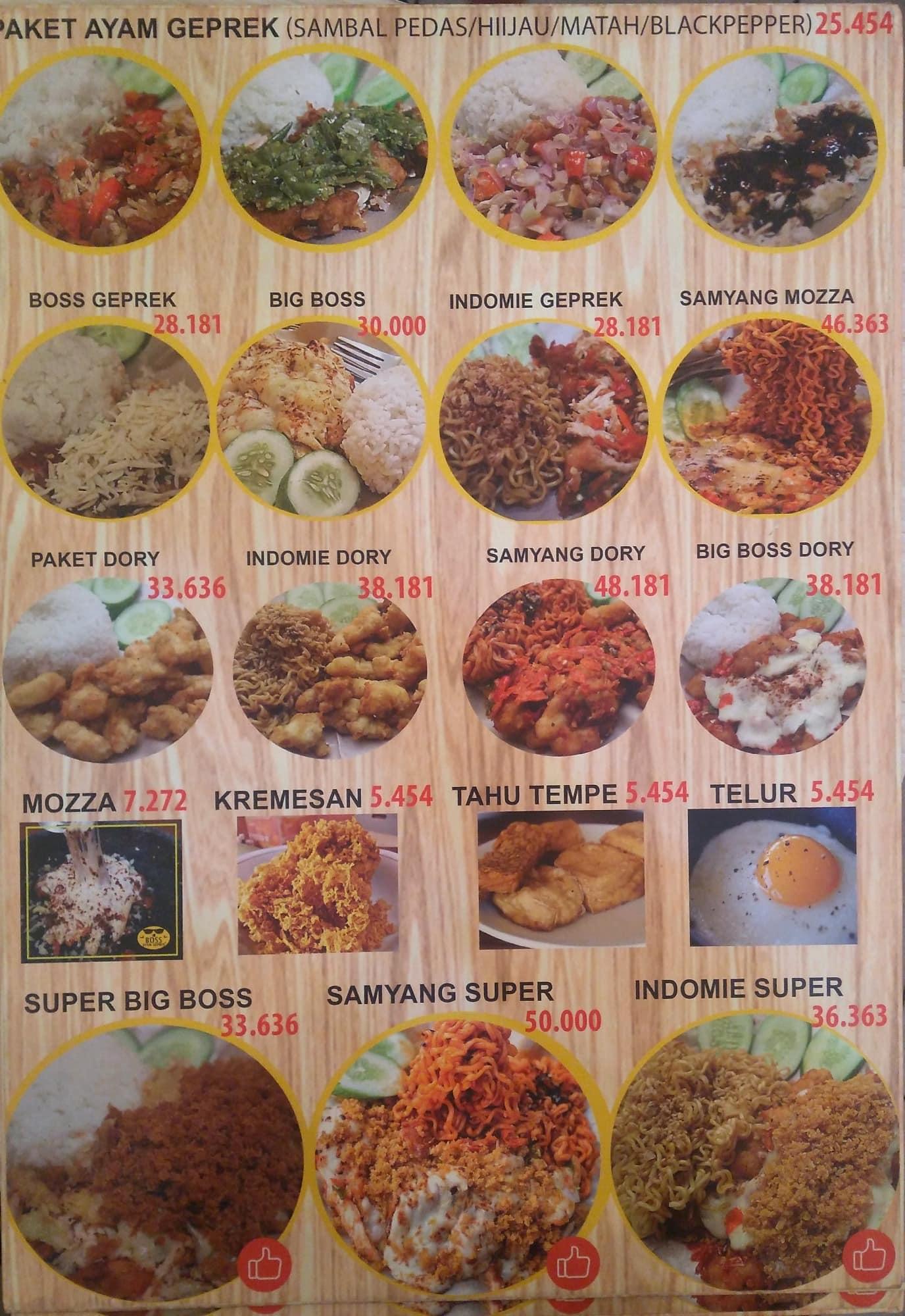 Boss Ayam Geprek Menu Menu For Boss Ayam Geprek Pluit Jakarta