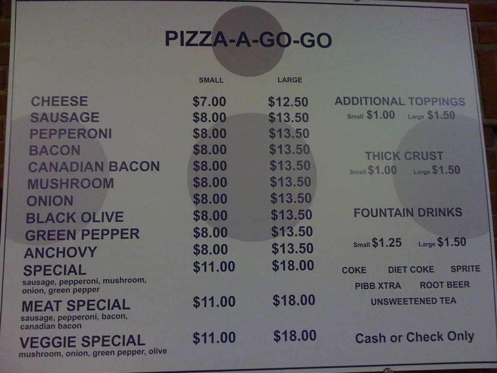 Pizza A Go Go Menu Menu For Pizza A Go Go Lindenwood Park
