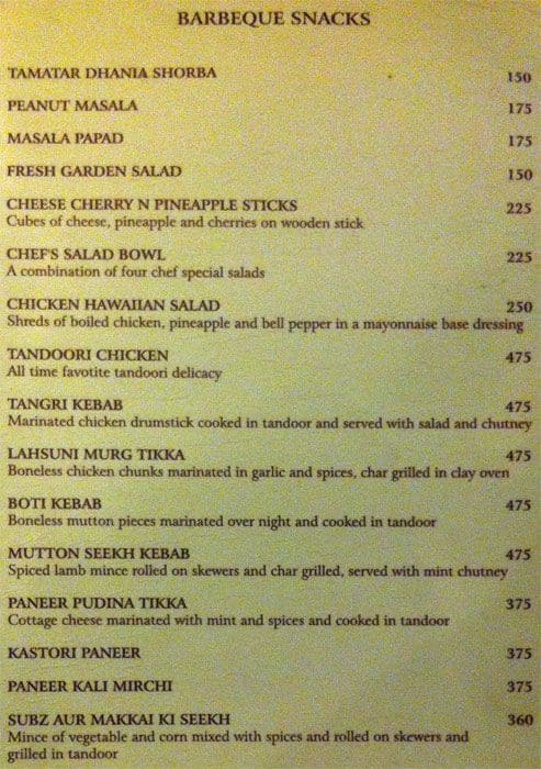 The terrace grill hotel park prime menu zomato for Terrace on the park menu