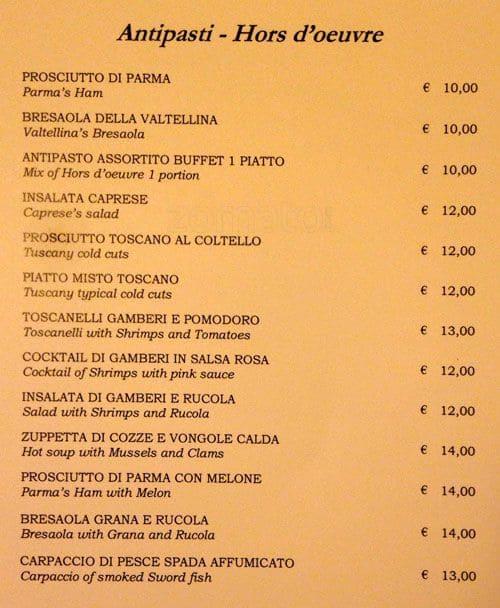 Ristorante da bruno a milano foto del menu con prezzi for Grotta palazzese restaurant menu