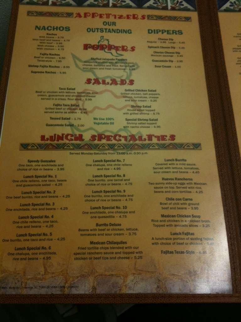 Jalapenos Restaurant Menu Savannah Ga