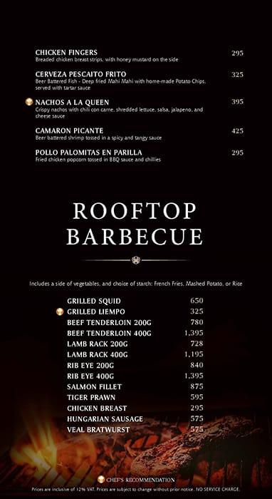 Firefly Roofdeck - City Garden Grand Hotel, Poblacion Menu