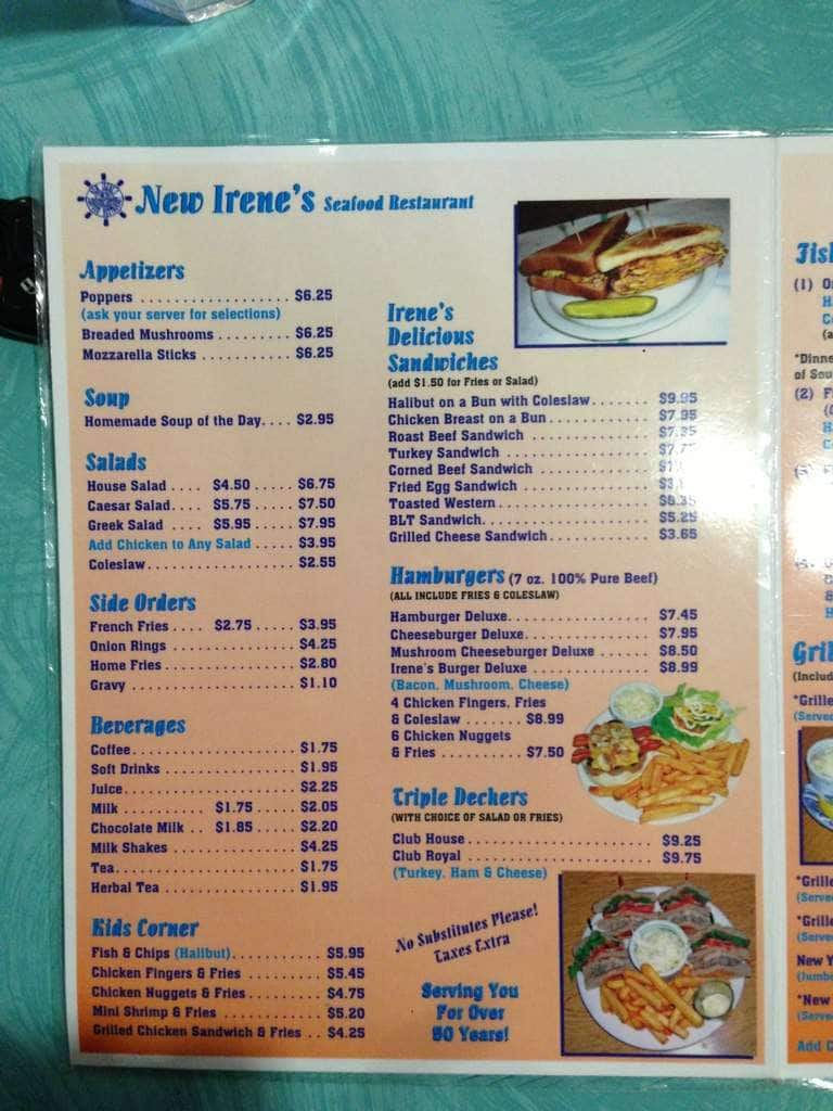 Menu at irene 39 s seafood restaurant london for 8 cuisine london ontario