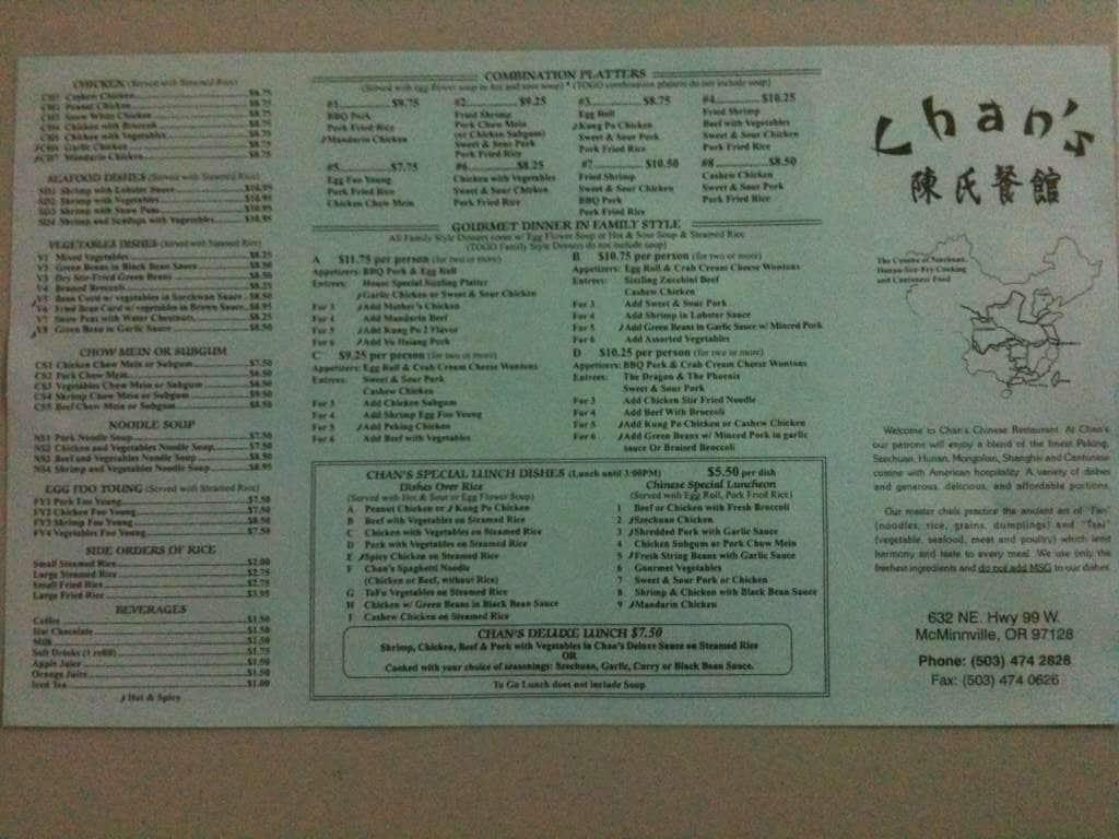 Chan 39 S Chinese Restaurant Men Urbanspoon Zomato