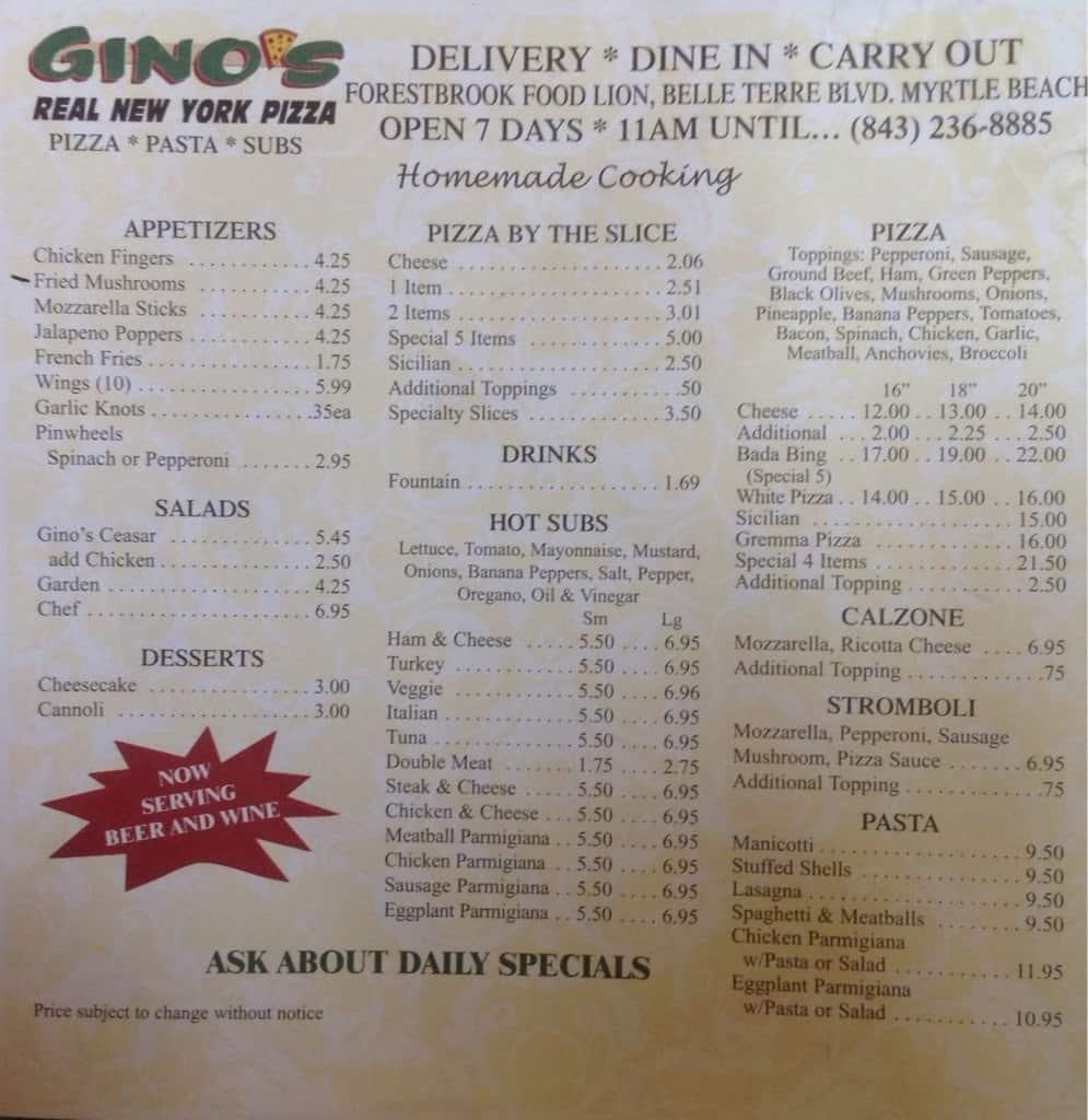 gino's real ny pizza menu - urbanspoon/zomato