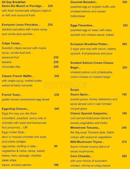 the living room menu, menu for the living room, hill road, bandra