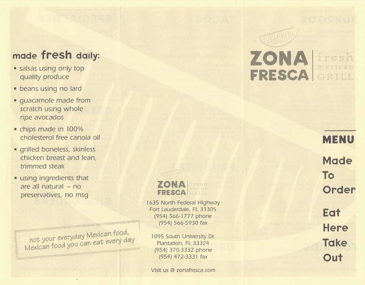 Zona Fresca Menu Menu For Zona Fresca Fort Lauderdale Miami
