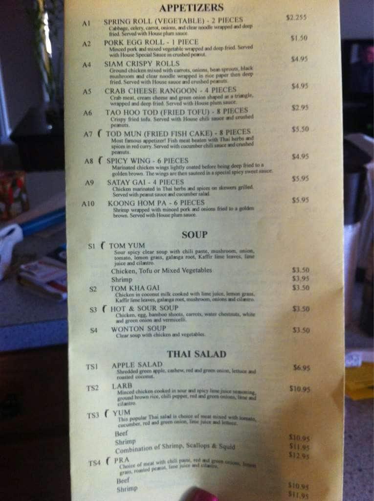 Thai Cafe Plymouth Menu