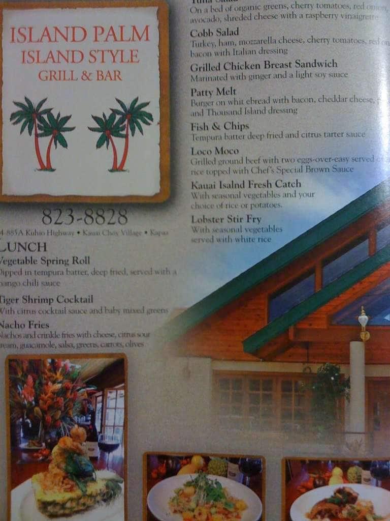 Palms Restaurant Menu Menu For Palms Restaurant Kapaa