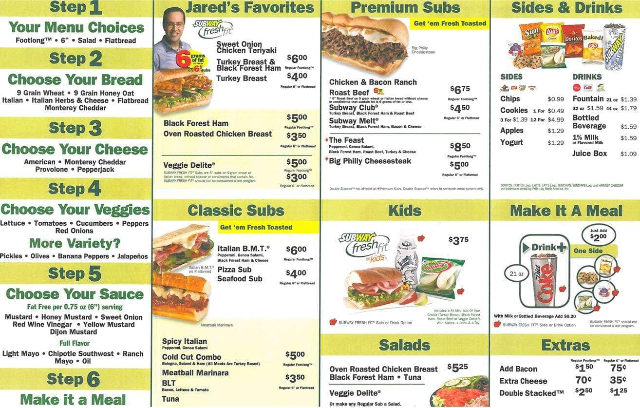 Subway Menu Menu For Subway Frayser Memphis