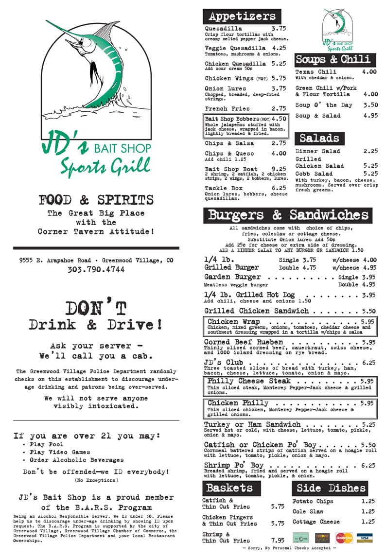 Menu at JD\'s Bait Shop pub & bar, Greenwood Village