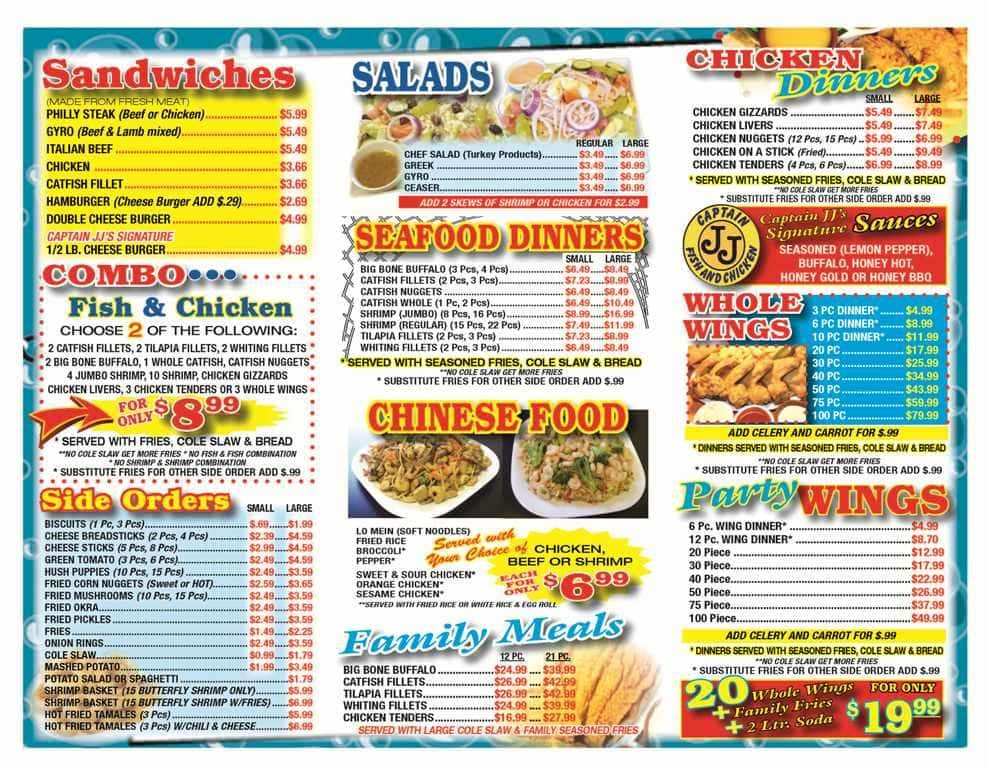 Menu at captain jj 39 s fish chicken restaurant memphis for Hook fish and chicken menu
