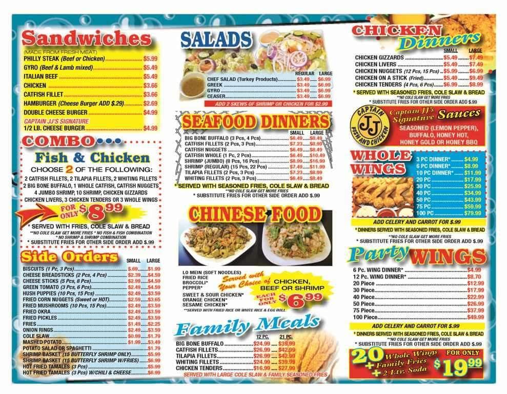 Menu at captain jj 39 s fish chicken restaurant memphis for Stellas fish cafe menu