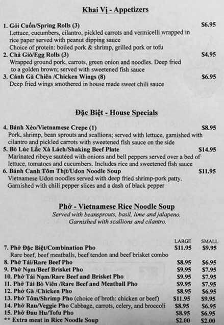 Viet Kitchen Menu Menu for Viet Kitchen Mandeville New
