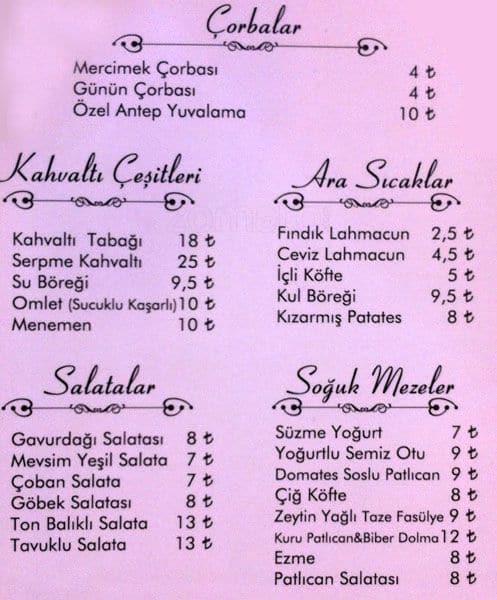 Kul Sofrası menu