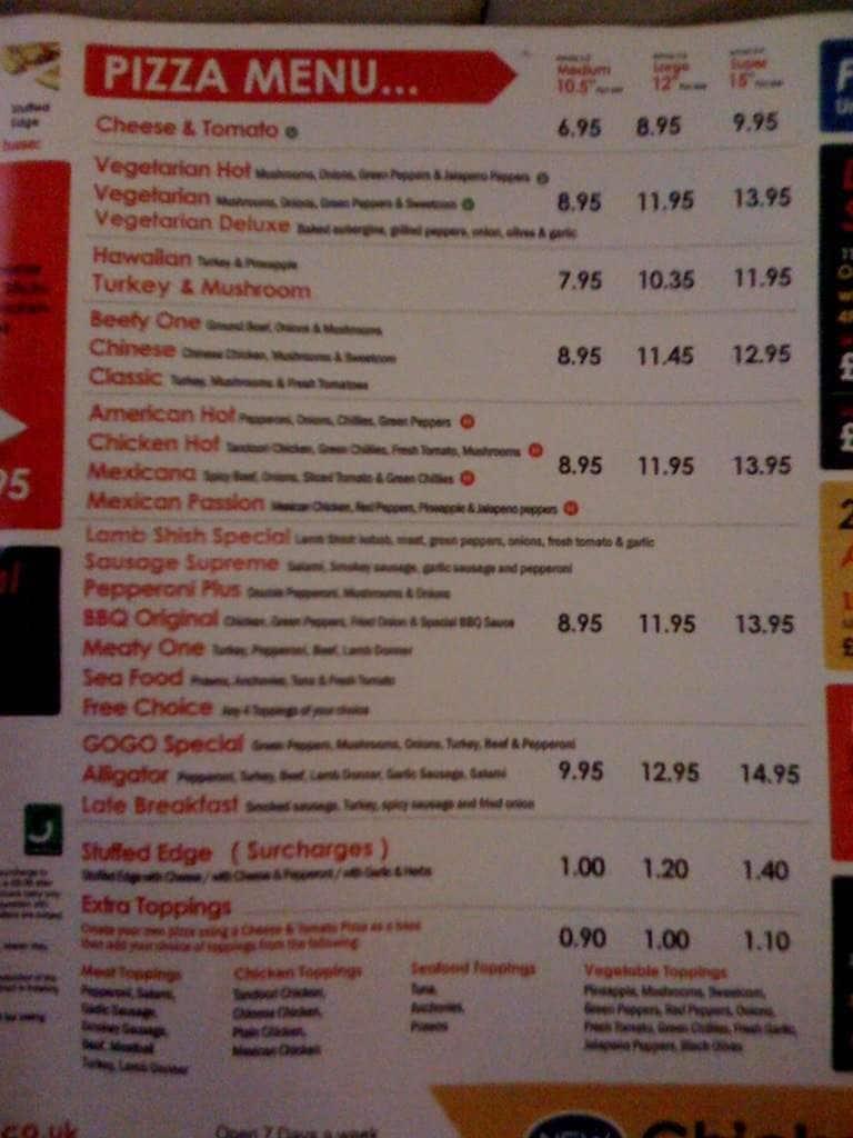 Menu At Pizza Gogo Restaurant Coventry 110 Far Gosford St