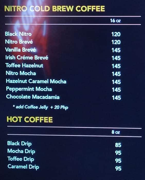 Nitro 7 Coffee & Tea Bar, New Manila Menu