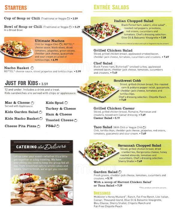image relating to Mcalister's Printable Menu referred to as Mcalisters Lunch Menu Identical Keywords and phrases Rules