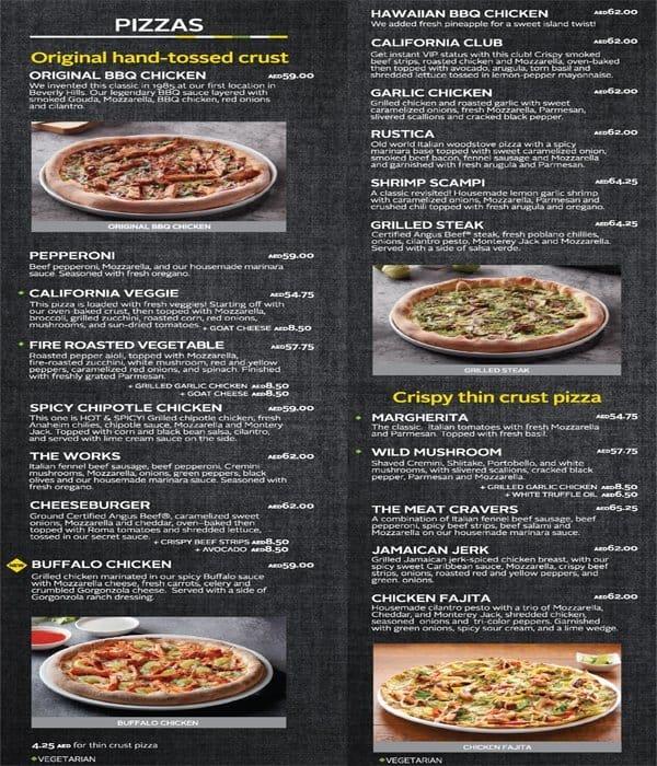 California Pizza Kitchen Menu: California Pizza Kitchen Menu, Menu For California Pizza