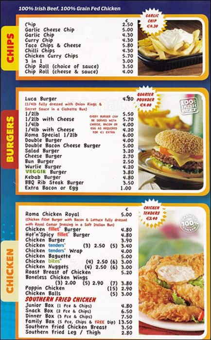 Thai Fast Food Menu