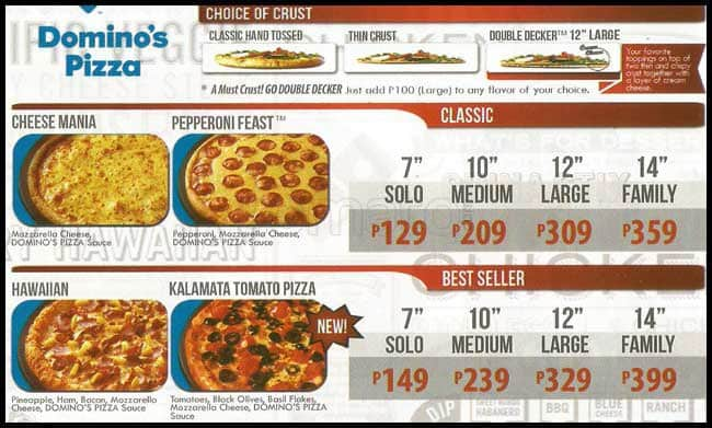 Dominos Pizza Menu Usa >> dominos pizza menu price list