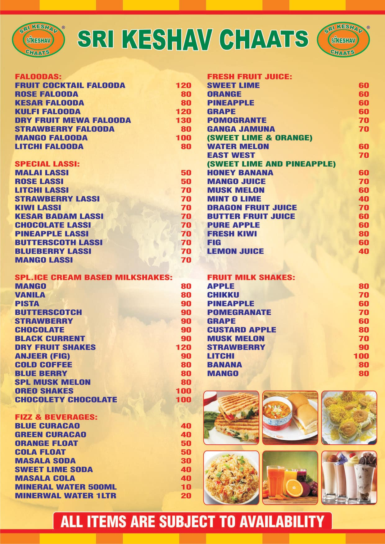 Sri Keshav Chats Menu